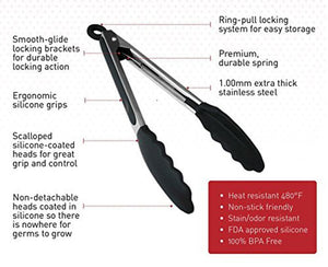 "Set of 2 Stainless Steel Kitchen Tongs - 9"" & 12"" Included!"