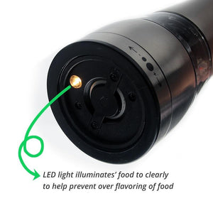 Electric Salt and Pepper Grinder - Battery Operated with LED Light -  Adjustable Coarseness Mill