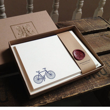 Letterpress Bicycle Notecards