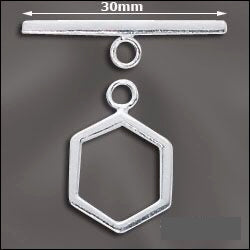 Sterling Silver 15mm Hexagon Toggle Clasp