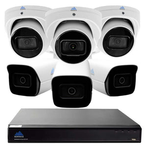 Montavue-4K Ultra HD IP NVR Surveillance System w/ 6 2K 5 Megapixel IP AI-SMD Cameras with Built-in Mic, 2TB HDD