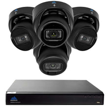 Load image into Gallery viewer, Montavue-8 Channel 4K AI NVR w/ 4 5MP AI Smart Motion Turret Cameras with Built-in Mic, 2TB HDD