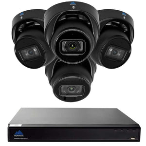 Montavue-8 Channel 4K AI NVR w/ 4 5MP AI Smart Motion Turret Cameras with Built-in Mic, 2TB HDD