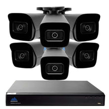 Load image into Gallery viewer, Montavue-8 Channel 4K AI NVR w/ 6 5MP AI Smart Motion Bullet Cameras with Built-in Mic, 2TB HDD