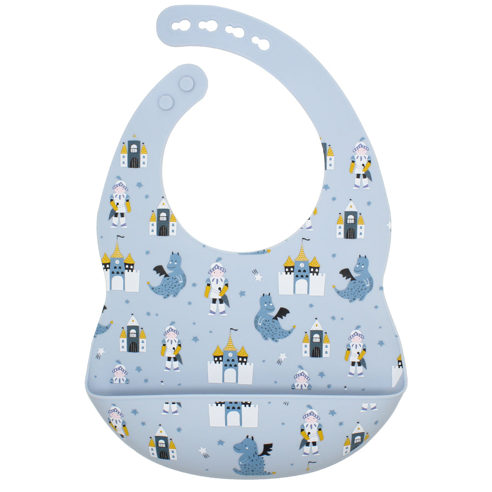 Willow and Lune's knights and dragons silicone bib. A fun bib printed with castles and dragons