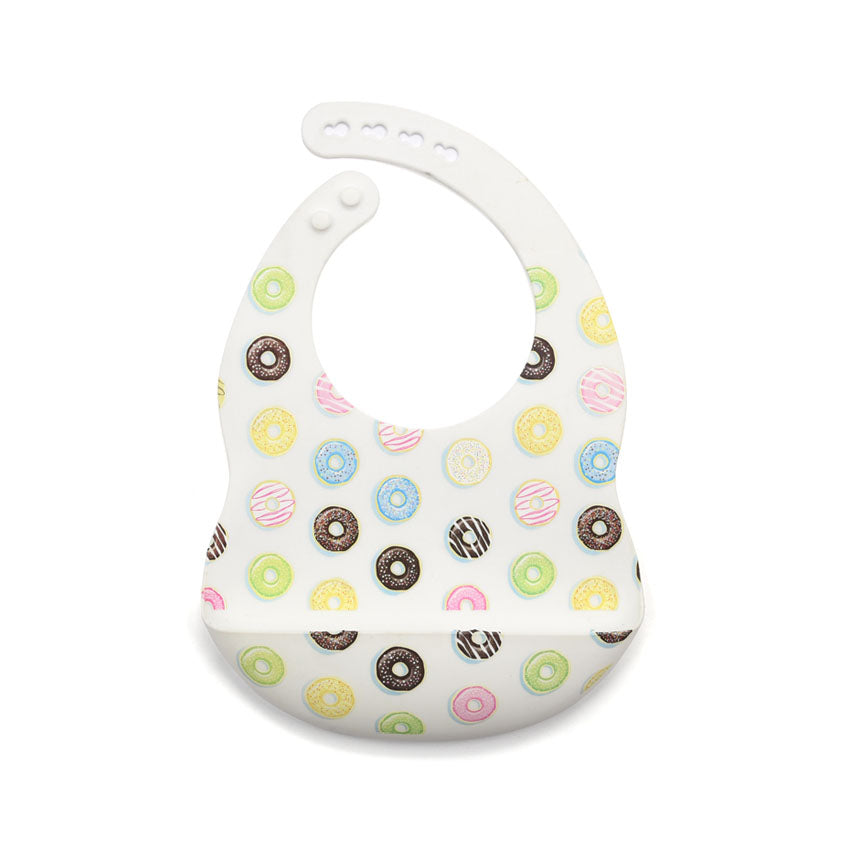 A picture of Willow and Lune's donut silicone bib.