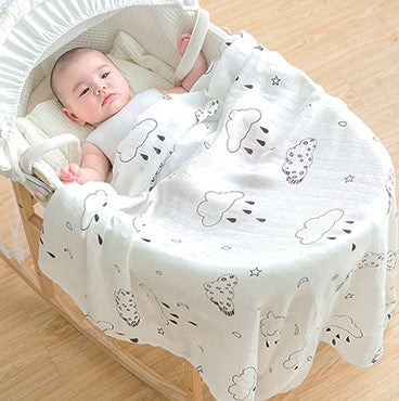 Willow and Lune's extra large rain cloud muslin square. In monochrome print