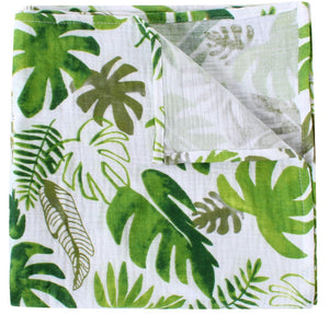 Willow and Lune's extra large leafy forest muslin square. In a beautiful green print