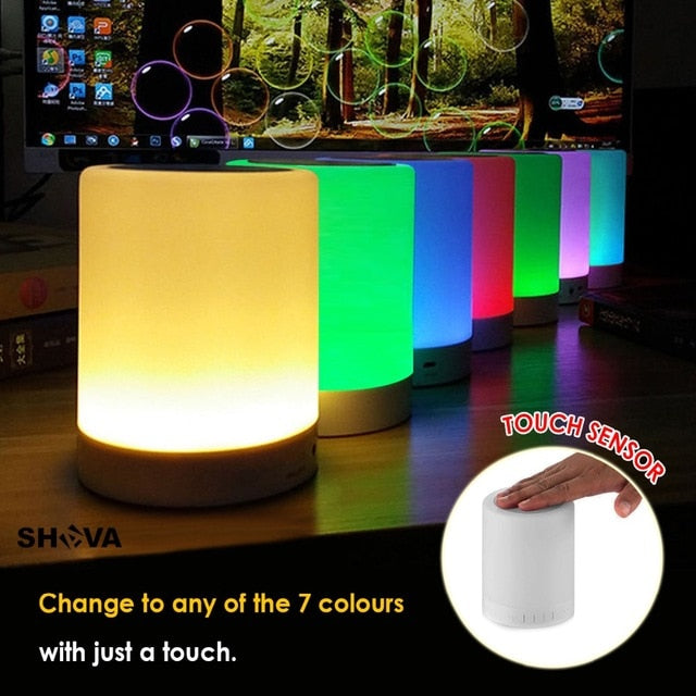 Wireless Touch Control LED Bedside Lamp with Bluetooth Speaker
