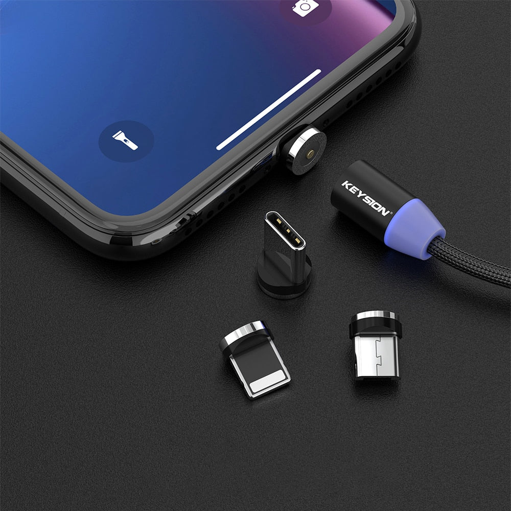 360 Magnetic USB Fast Charging Cable with LED