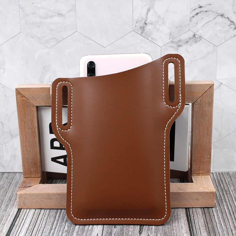 New Men Leather Vintage Pack Waist Bag Belt Clip iPhone Holster pouch