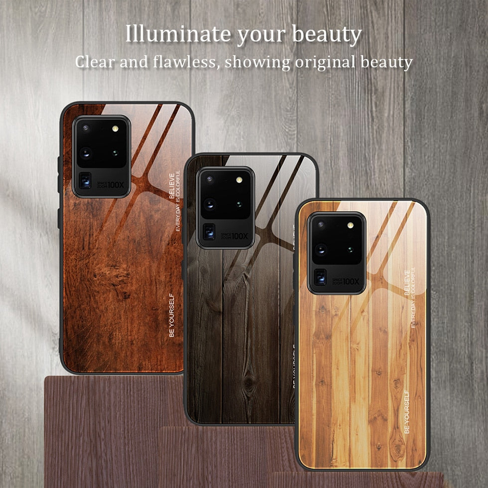 Wooden Tempered glass Covers For Samsung SmartPhones