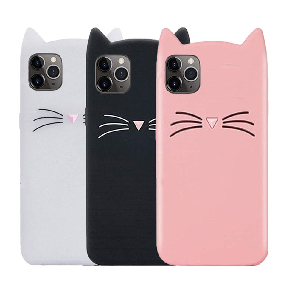 Cute Cat Silicone Soft Case For iPhone