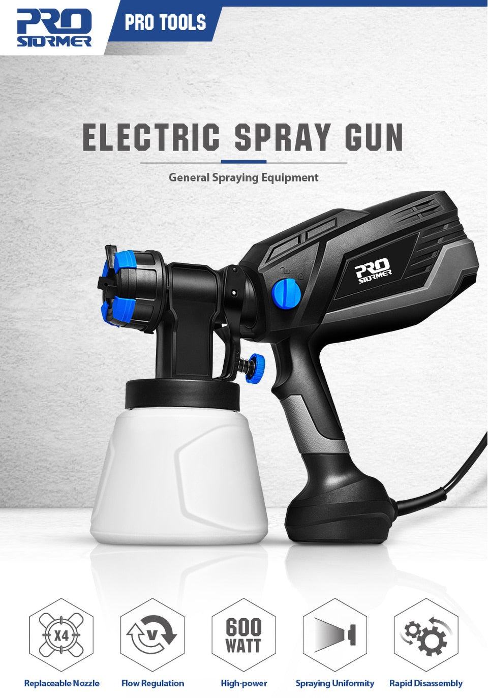 600W Electric Spray Gun 4 Nozzle Sizes 1000ml HVLP Household Paint Sprayer Flow Control Airbrush Easy Spraying by PROSTORMER