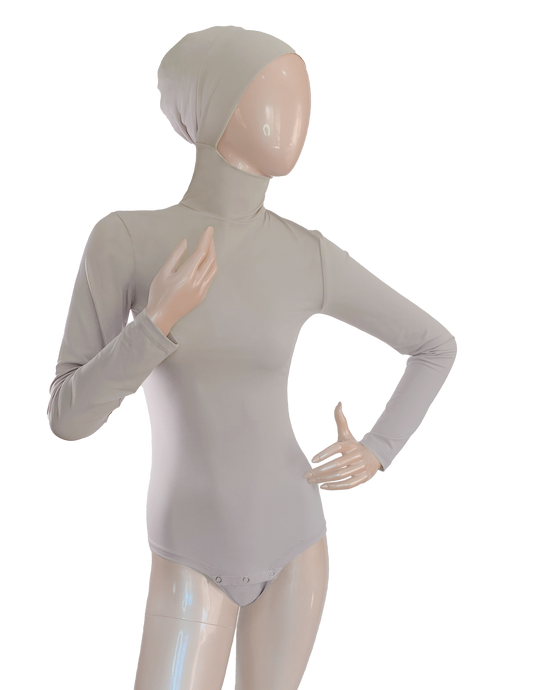 AMIRABODY HIJAB BODYSUIT FULL COVERAGE - LIGHT GREY