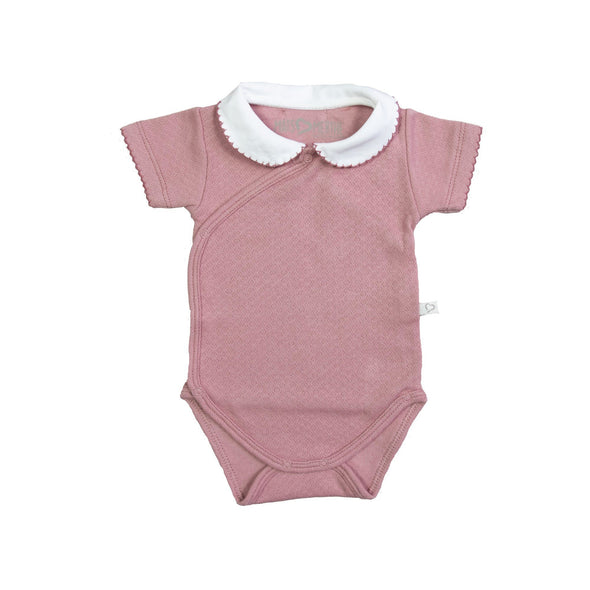 Mats & Merthe Body Short sleeve with collar girl - Old pink -Just too Sweet - Babies and Kids Concept Store
