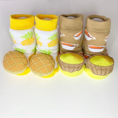 Just too Sweet x Waddle & Friends Egg Tart & Pineapple Bun Rattle socks (0-12M) [HK edition] -Just too Sweet - Babies and Kids Concept Store