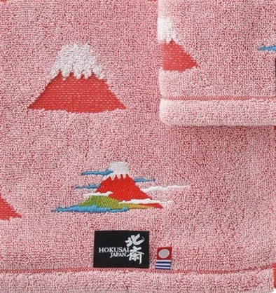 Kuen Mo Zakkaten Hokusai Face Towel (RED) -Just too Sweet - Babies and Kids Concept Store