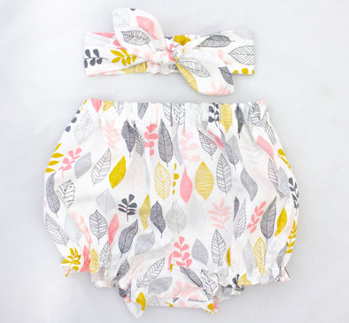 Organic Minikins LEAF UP Organic Cotton Bloomer and Headband Set -Just too Sweet - Babies and Kids Concept Store