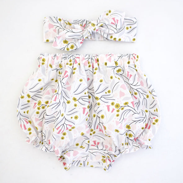 Organic Minikins LILY Organic Cotton Bloomer and Headband Set -Just too Sweet - Babies and Kids Concept Store