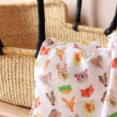 The Fox In The Attic Muslin Swaddle Blanket - ANIMALS -Just too Sweet - Babies and Kids Concept Store