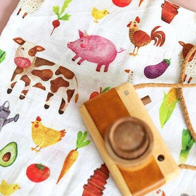 The Fox In The Attic Muslin Swaddle Blanket ~ FARMYARD -Just too Sweet - Babies and Kids Concept Store