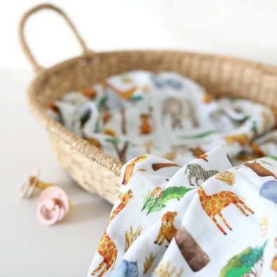The Fox In The Attic Muslin Swaddle Blanket - SAFARI -Just too Sweet - Babies and Kids Concept Store