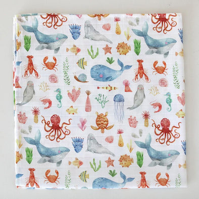 The Fox In The Attic Muslin Swaddle Blanket ~ SEA LIFE -Just too Sweet - Babies and Kids Concept Store