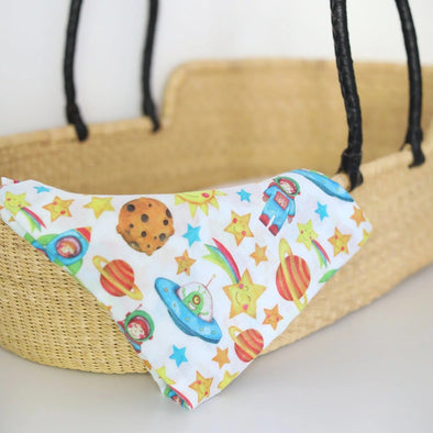 The Fox In The Attic Muslin Swaddle Blanket - SPACE -Just too Sweet - Babies and Kids Concept Store