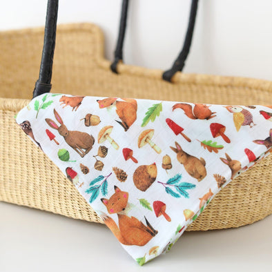 The Fox In The Attic Muslin Swaddle Blanket - WOODLAND -Just too Sweet - Babies and Kids Concept Store
