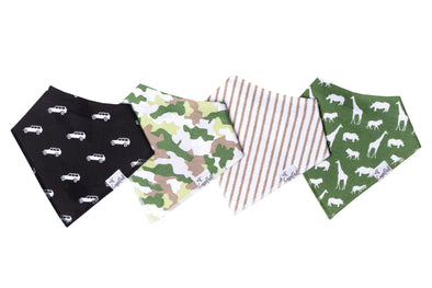 Copper Pearl SAFARI baby bandana bib set (4-pack) -Just too Sweet - Babies and Kids Concept Store