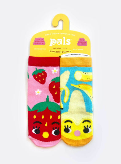 Pals SRAWBERRY & BANANA kids mismatched socks (1-3Y) -Just too Sweet - Babies and Kids Concept Store