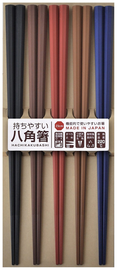 Kuen Mo Zakkaten Visitor Octagonal Chopsticks Dark Colour (5 PCS) -Just too Sweet - Babies and Kids Concept Store