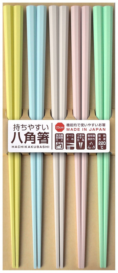 Kuen Mo Zakkaten Visitor Octagonal Chopsticks Pastel Colour (5 PCS) -Just too Sweet - Babies and Kids Concept Store