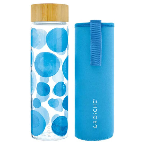 VENICE Eco-friendly Glass Water Bottle with Bamboo Lid BLUE