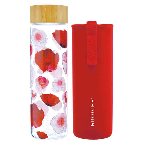 VENICE Eco-friendly Glass Water Bottle with Bamboo Lid RED POPPY