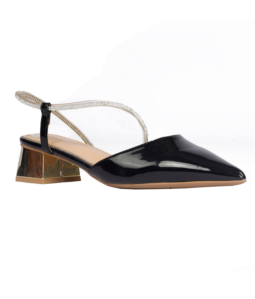 Women Black Party Slip on