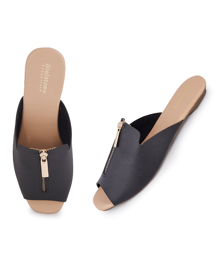 Women Black Casual Mules