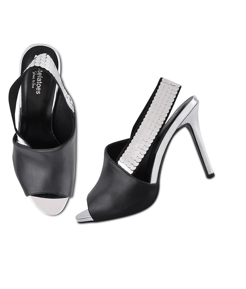 Women Black Party Peep Toes