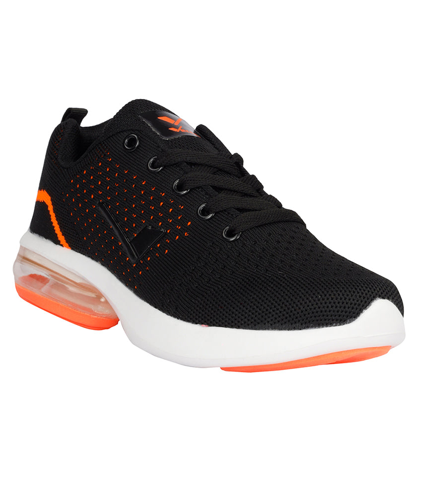 Women Black & Orange Fitness Sneakers