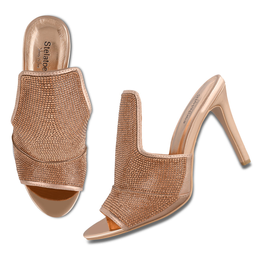 Women Champagne Wedding Mules