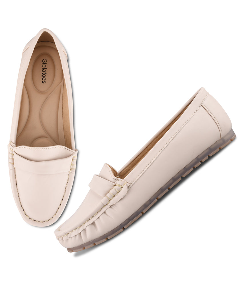 Women Cream Urban Comfort Loafers