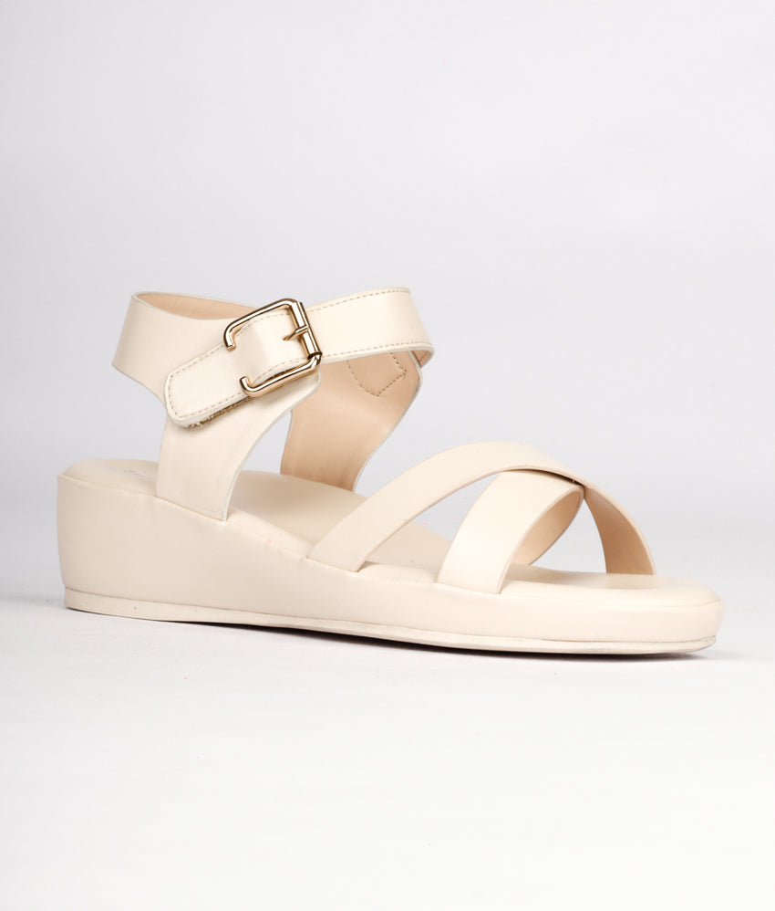 Women Cream Casual Sandals