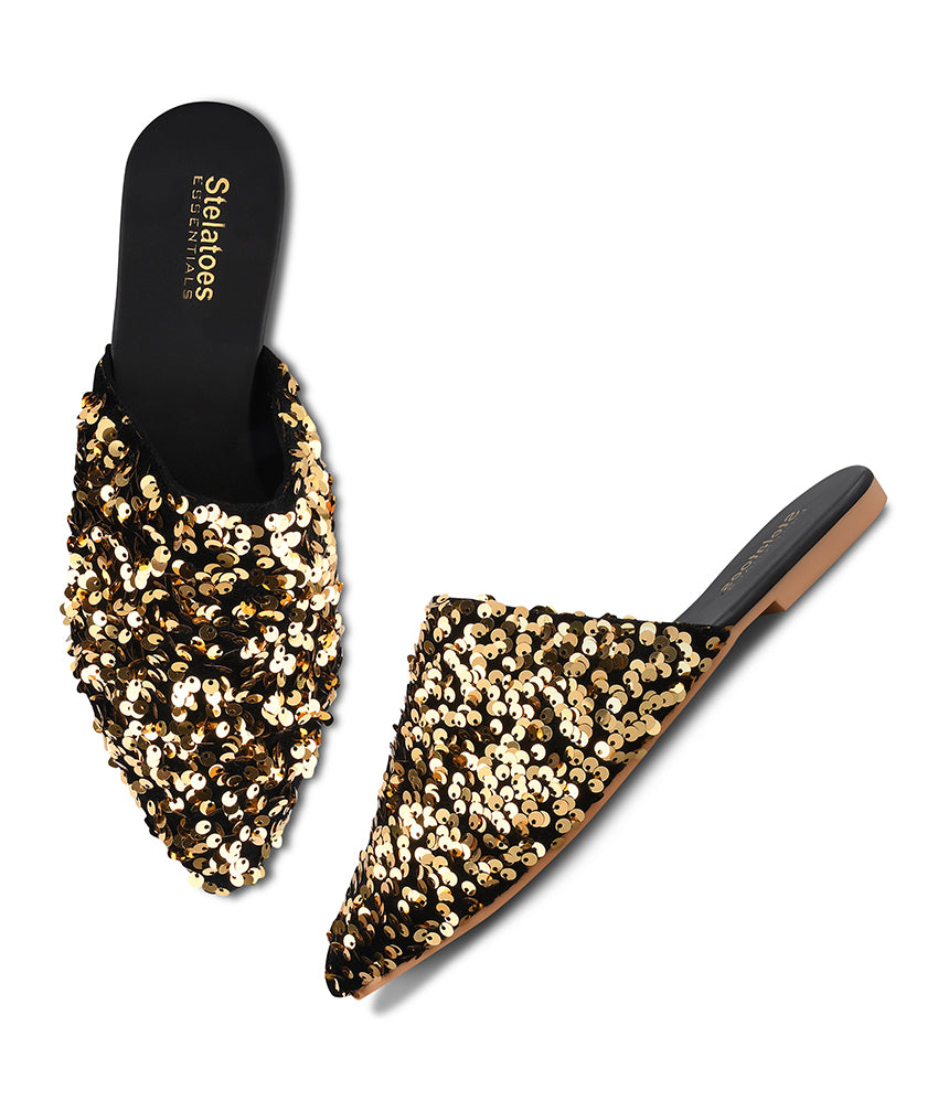 Women Gold Party Mules
