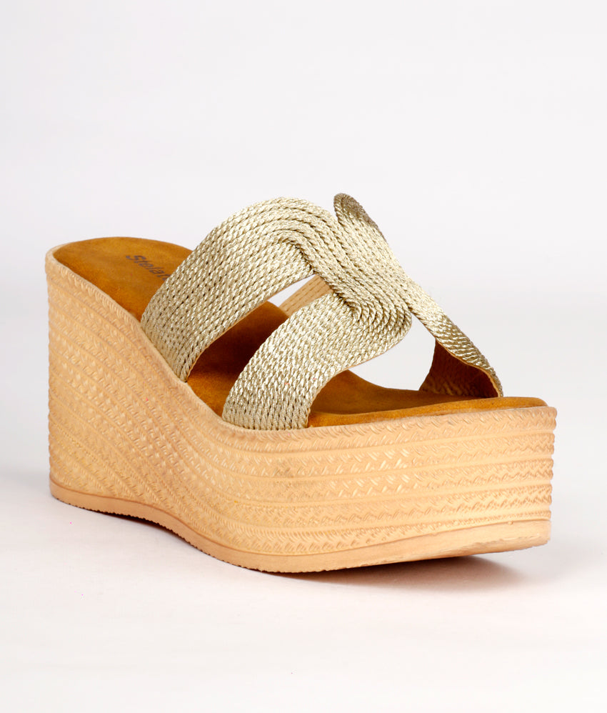Women Gold Ethnic Slip on