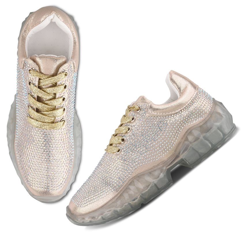 Women Gold Party Sneakers