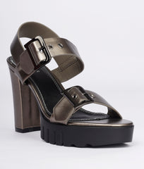 Women Gunmetal Urban Sandals