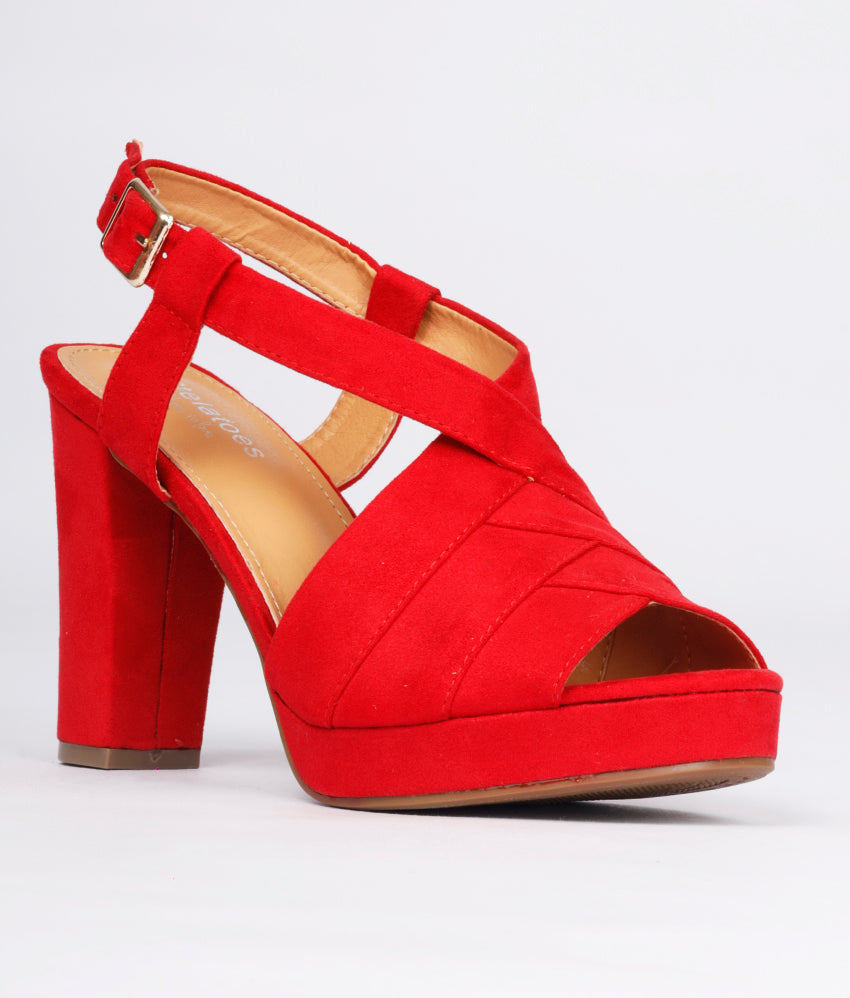 Women Red Casual Peep Toes