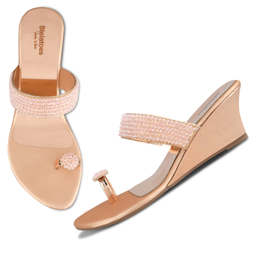 Women Rose Gold Ethnic One Toe