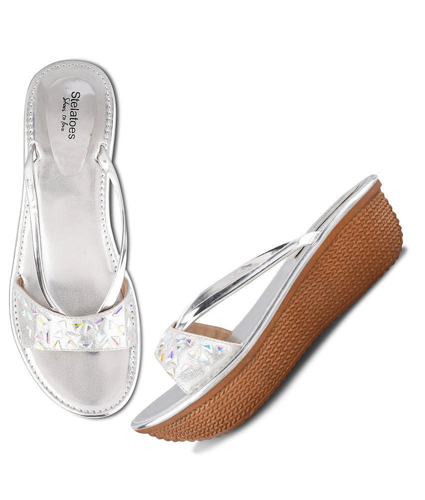 Women Silver Casual Wedges